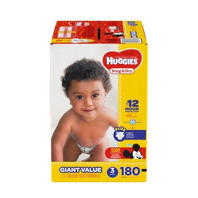 Huggies Snug & Dry Diapers Giant Pack - Size 3 (180ct)