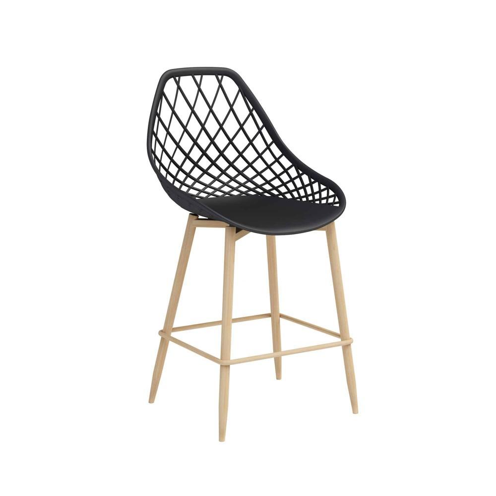Image of Set of 2 Kurv Counter Chair Black/Natural - Jamesdar