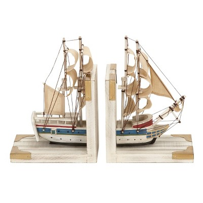 """9"""" x 6"""" Wooden Sailboat Bookends White/Gold - Olivia & May"""