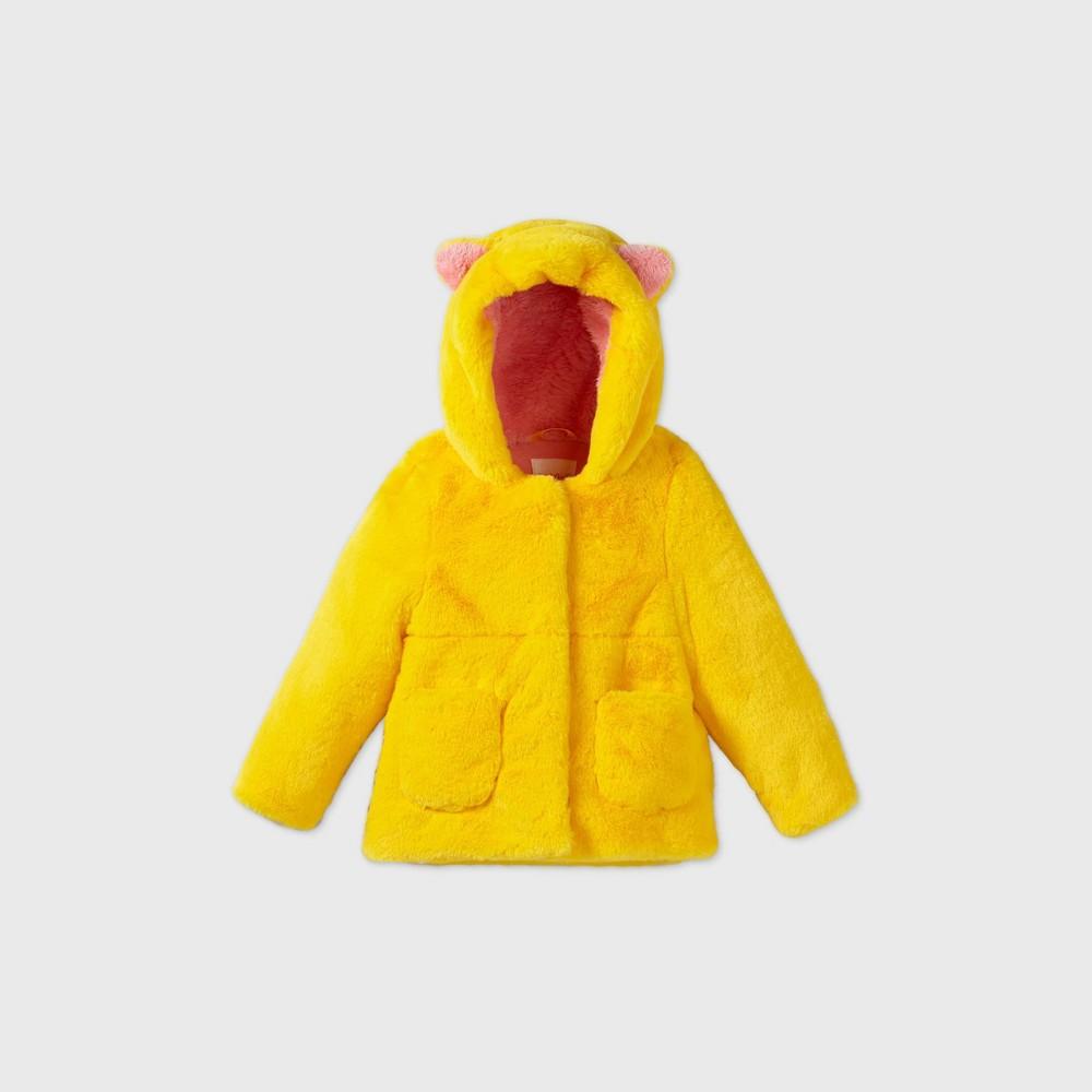 Toddler Girls 39 Lemon Peel Hooded Cat Ear Fashion Faux Fur Jacket Cat 38 Jack 8482 Lime Yellow 6
