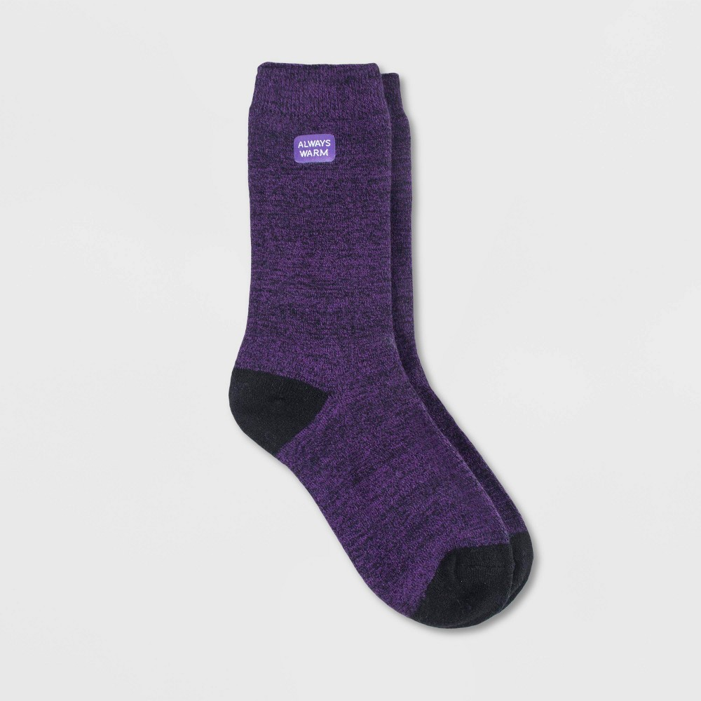 Image of Always Warm by Heat Holders Women's Twist Crew Socks - Purple 5-9, Size: Small