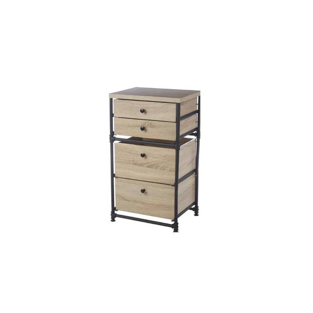 Image of 4 Drawer Set Industrial Pipe Storage Cabinet Antique Wood - Neu Home, Brown