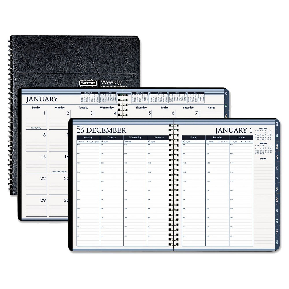 House of Doolittle Recycled Wirebound Weekly/Monthly Planner 8 1/2 x 11 Black Leatherette 2018