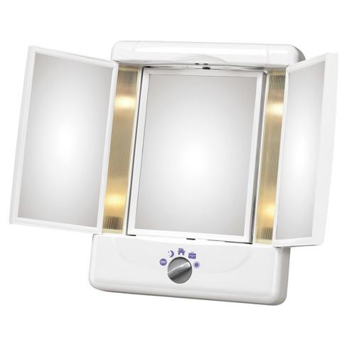 lighted make up mirror Conair Illumina Collection 3 Panel Lighted Makeup Mirror   Colors  lighted make up mirror