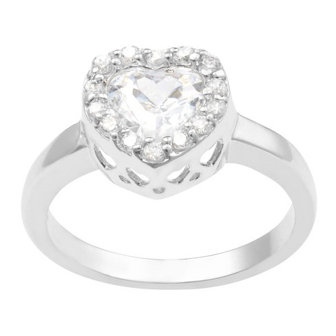 2/5 CT. T.W. Heart-cut Cubic Zirconia Heart Engagement Pave Set Ring in Sterling Silver - Silver - image 1 of 2