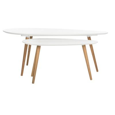 Saffron Split Coffee Table   White / Oak   Safavieh®