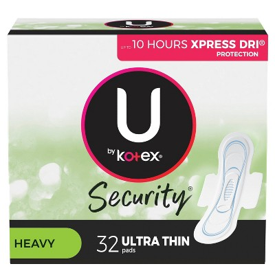 U by Kotex Security Ultra Thin Feminine Pads with Wings - 32ct