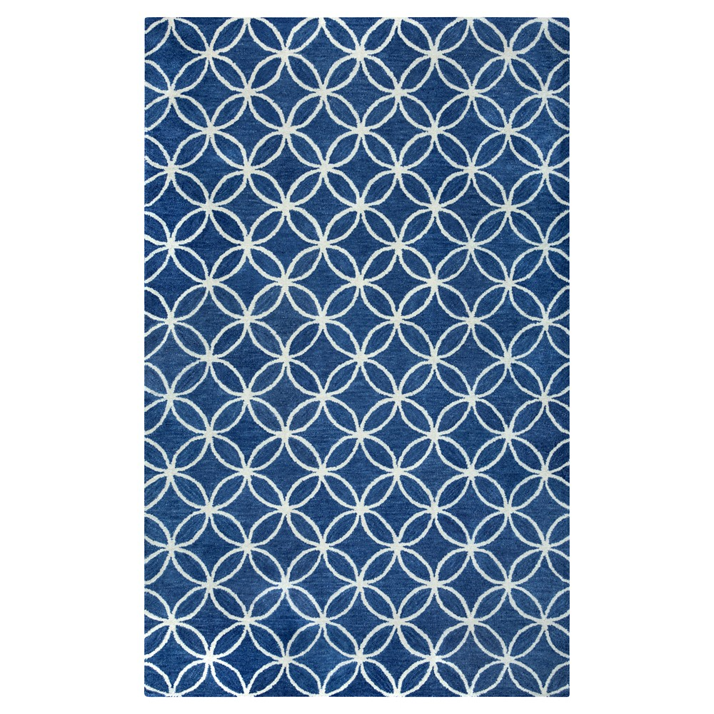 Image of 8'X10' Geometric Area Rug Blue - Rizzy Home, White Blue