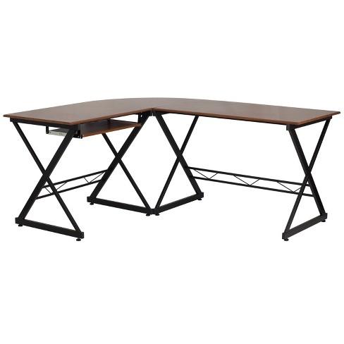 Flash Furniture Teakwood Laminate L, Flash Furniture L Shaped Computer Desk With Pullout Keyboard Tray