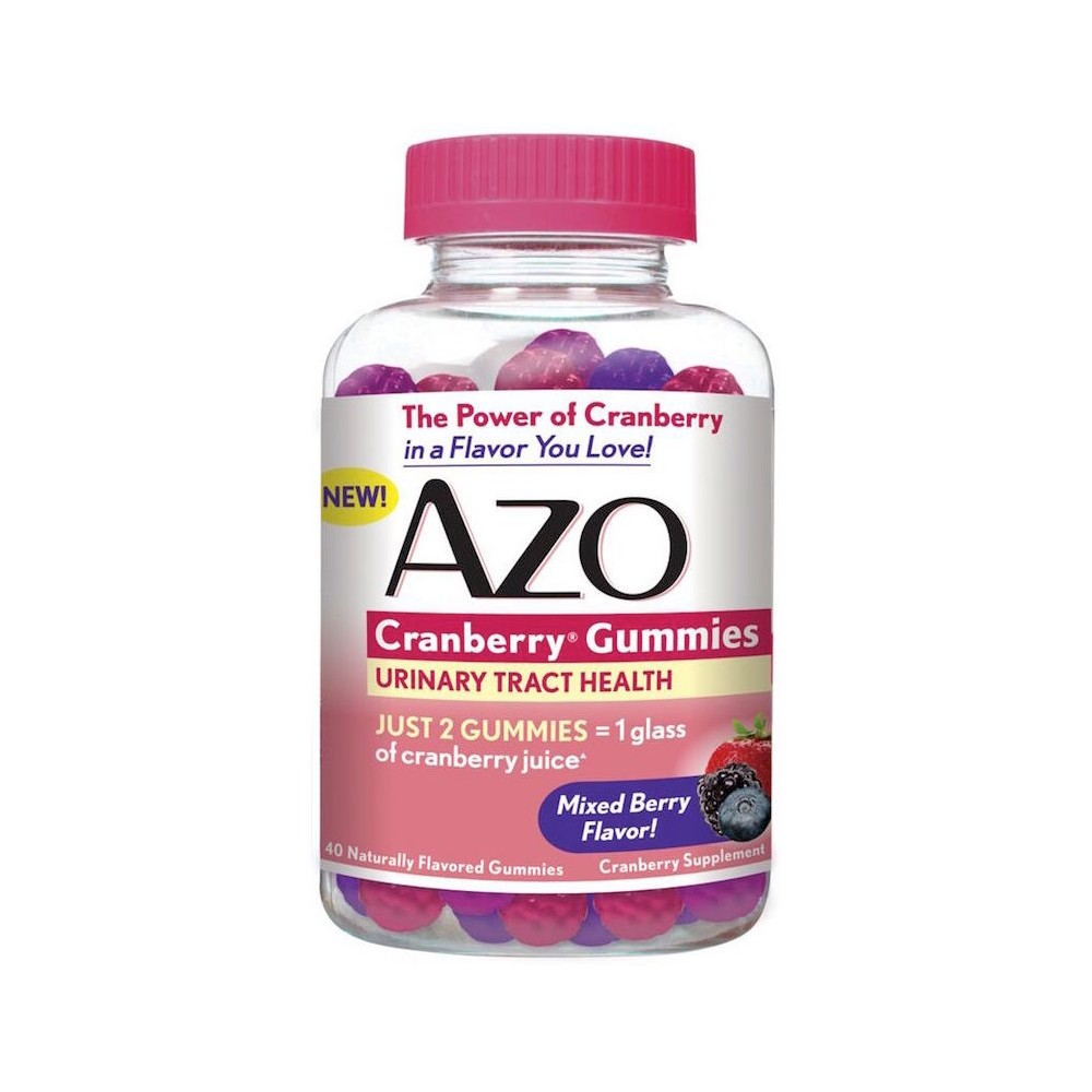 Azo Cranberry Urinary Tract Health Gummies 40ct The Azo Bladder/Uti Treatment 40 ea have a mixed berry flavor that you'll love. This gummy supplement with the power of cranberries aids your urinary tract health. Gender: Female.