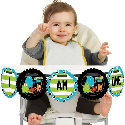 Big Dot of Happiness Monster Bash 1st Birthday Highchair Decor - I Am One - Little Monster First Birthday High Chair Banner