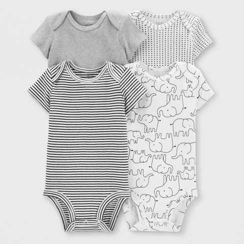 Baby 4pk Bodysuits - Just One You® made by carter's White/Gray - image 1 of 5