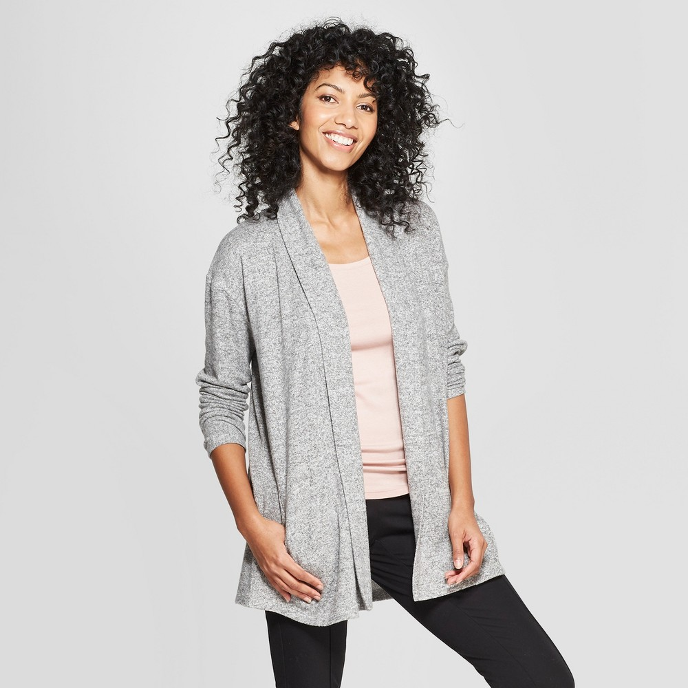 Women's Open Cozy Knit Cardigan - A New Day Heather Gray S