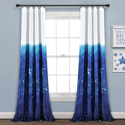 """52""""x84"""" Make A Wish Space Star Ombre Window Curtain Panels Navy/White Set - Lush Décor"""