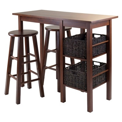5 Piece Egan Set Breakfast Table with Baskets And Bar Stools Wood/Walnut& Chocolate - Winsome