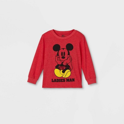 Toddler Boys' Mickey Mouse 'Ladies Man' Valentine's Day Long Sleeve Graphic T-Shirt - Red