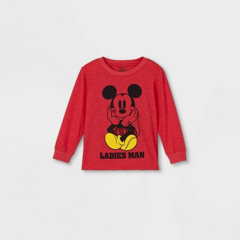 Toddler Boys' Mickey Mouse 'Ladies Man' Valentine's Day Long Sleeve Graphic T-Shirt - Red - image 1 of 2