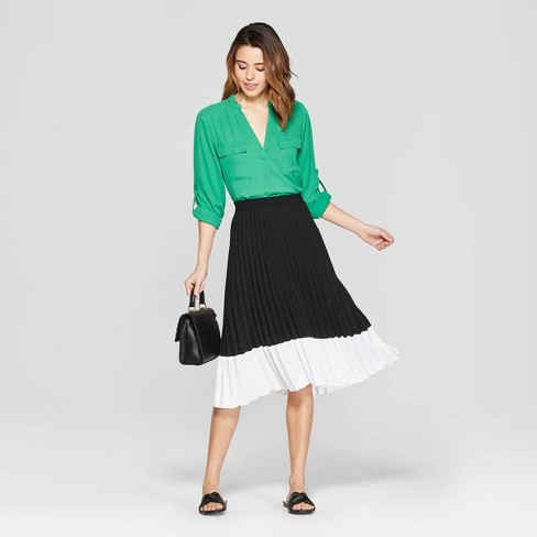 455afb2187 Women's Colorblock Pleated Skirt - A New Day™ Black/White : Target