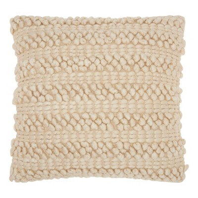 Light Beige Solid Throw Pillow - Mina Victory