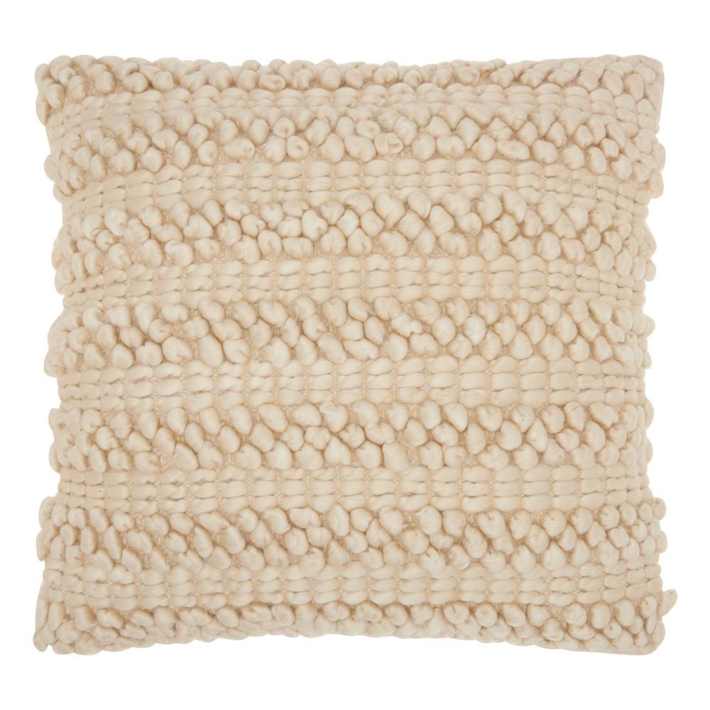 Image of Light Beige Solid Throw Pillow - Mina Victory