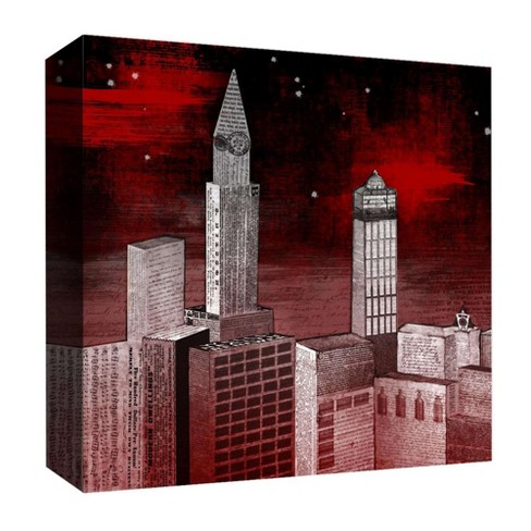 "Red Night Decorative Canvas Wall Art 16""x16"" - PTM Images - image 1 of 1"