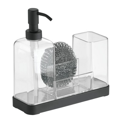 InterDesign Forma Plastic Soap Pump and Amp Brush Caddy 16oz Clear
