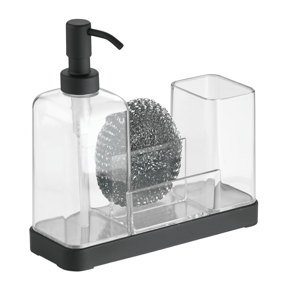 Image of InterDesign Forma Plastic Soap Pump and Amp Brush Caddy 16oz Clear, Black