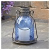 "Smart Living 11"" Monaco Glass LED Candle Outdoor Lantern - Blue - image 4 of 4"