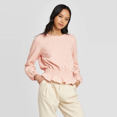 Women's Cowl Neck Smocked Waist Knit Sweatshirt - Who What Wear™