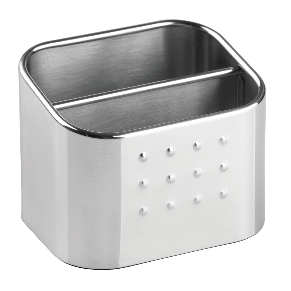 InterDesign Forma Stainless Steel Scrub Hub Sponge Caddy Polished, Silver