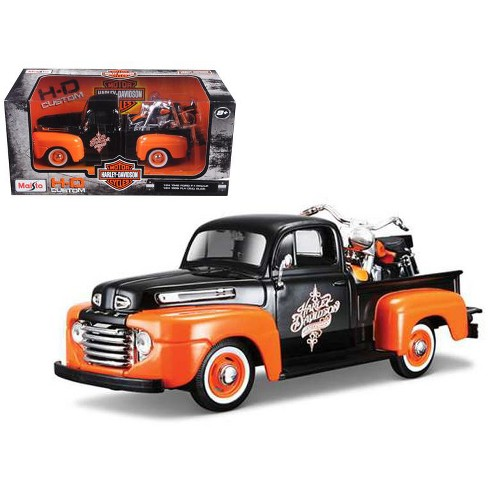 1948 Ford F-1 Pickup Truck Orange/Black with 1958 FLH Duo Glide Harley Davidson Motorcycle 1/24 Diecast Models by Maisto - image 1 of 1