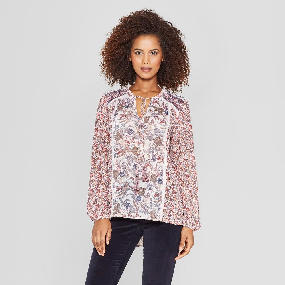 Women's Floral Print Long Sleeve V-Neck Tassel Blouse - Knox Rose Pink L, Multicolored