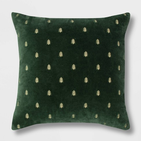 Embroidered Trees Velvet Oversize Square Throw Pillow Green/Gold - Threshold™ - image 1 of 3