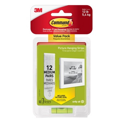 Command 12 Sets of Strips Picture Hanging Strips Value White