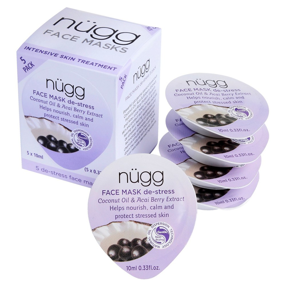 nügg De-Stress Face Mask with Coconut Oil & Acai Berry Extract - 5ct
