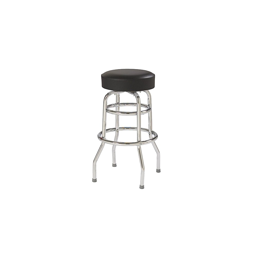 Double-Ring Bar Stool - Black