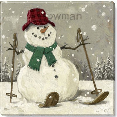 Sullivans Darren Gygi Sepia Snowman on Skis Canvas, Museum Quality Giclee Print, Gallery Wrapped, Handcrafted in USA