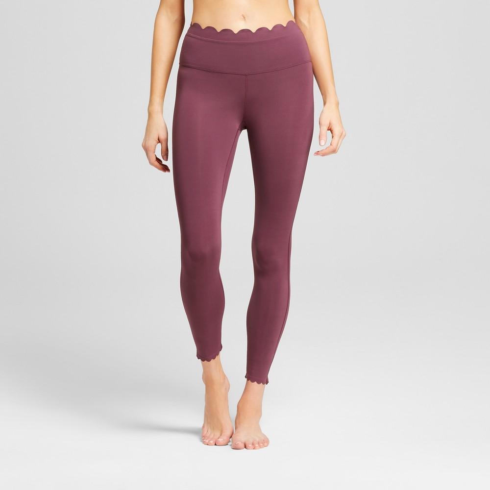 Women's Premium Lightweight High-Waisted Scalloped Leggings - JoyLab Red Wine XL