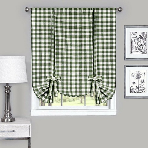 GoodGram Buffalo Check Plaid Gingham Tie Up Window Curtain Shades - image 1 of 1
