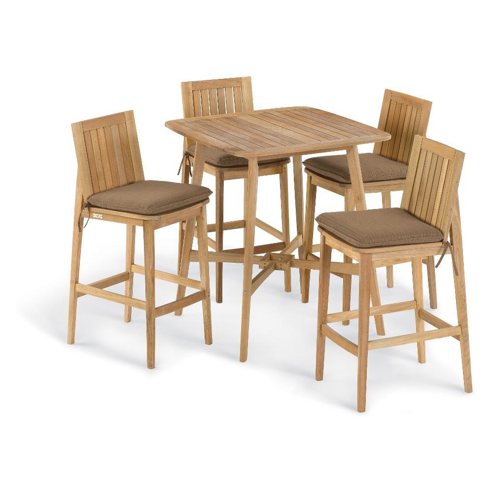 5pc Islay 36 Square Bar Set Dupione Walnut (Brown) Cushion - Oxford Garden