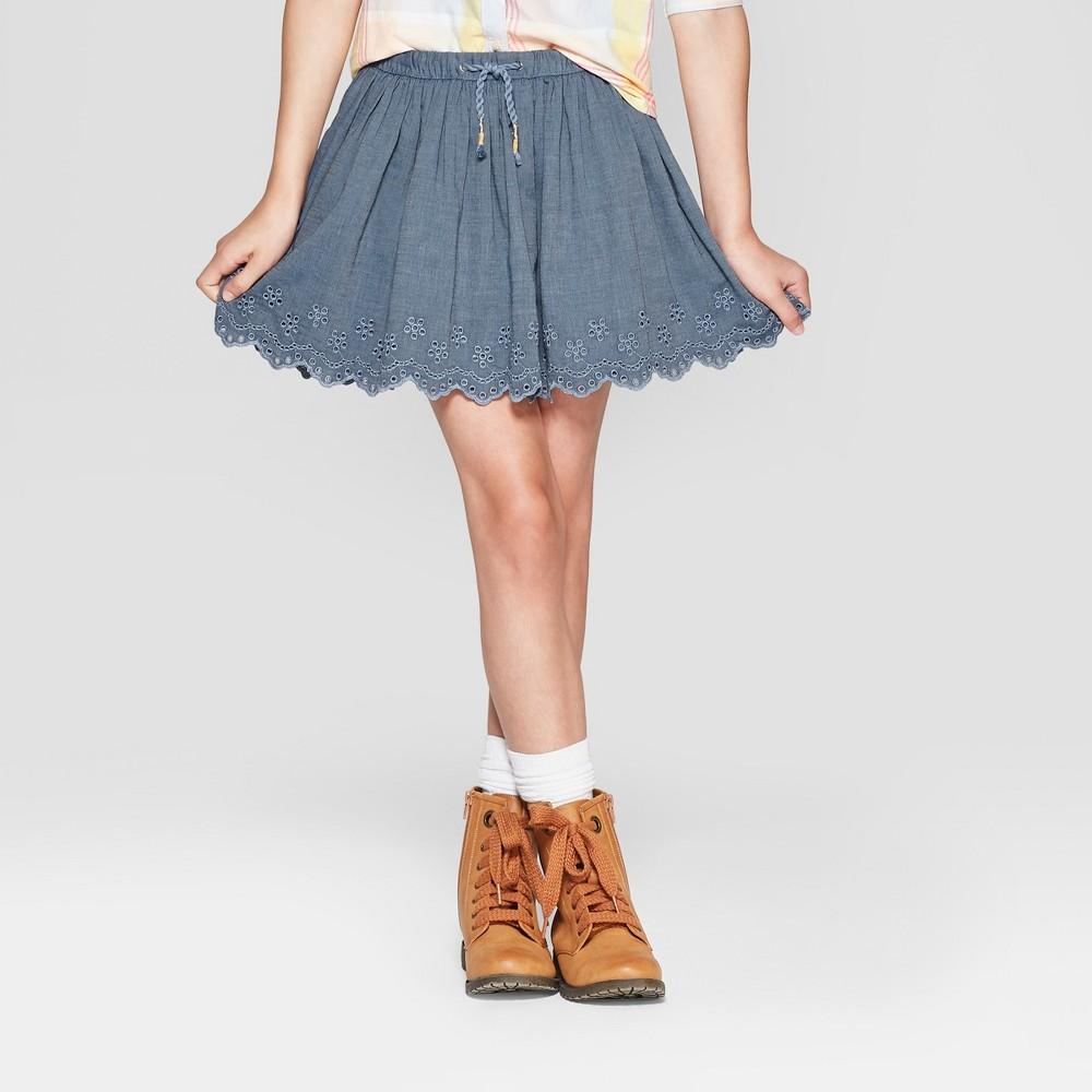 Girls' Woven Eyelet Skirt - Cat & Jack Navy S, Blue