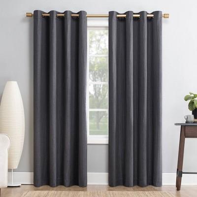 "84""x52"" Gavlin Crosshatch Jacquard Extreme Total Blackout Grommet Top Curtain Panel Smoke Gray - Sun Zero"