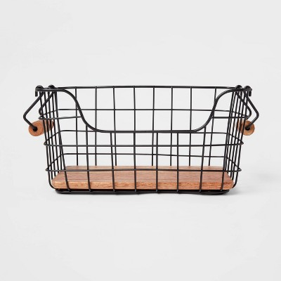 Iron and Mangowood Wire Fruit Basket with Handles Black - Threshold™