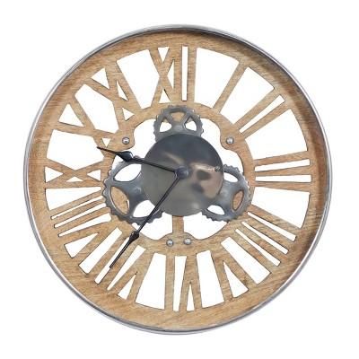 """18"""" Modern Round Metal and Wood Analog Wall Clock - Olivia & May"""