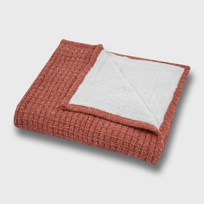 """50""""x60"""" Marled Sweater Knit Chenille with Sherpa Reverse Throw Blanket - freshmint"""