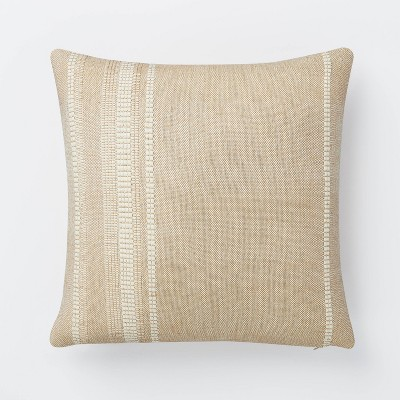 Woven Cotton Wool Striped Square Pillow Brown/Cream - Threshold™ designed with Studio McGee