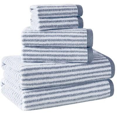 6pc Striped Bath Towel Set Dark Blue/White - Alfred Sung Home
