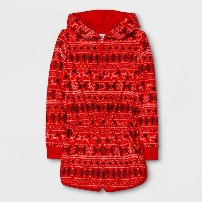 Girls' Fair Isle Pajama Romper - art class™ Red