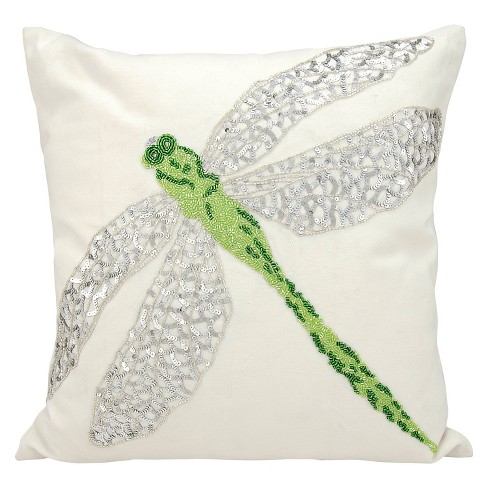 "Green Beaded Dragon Fly Indoor/Outdoor Throw Pillow (18""x18"") - Nourison - image 1 of 2"