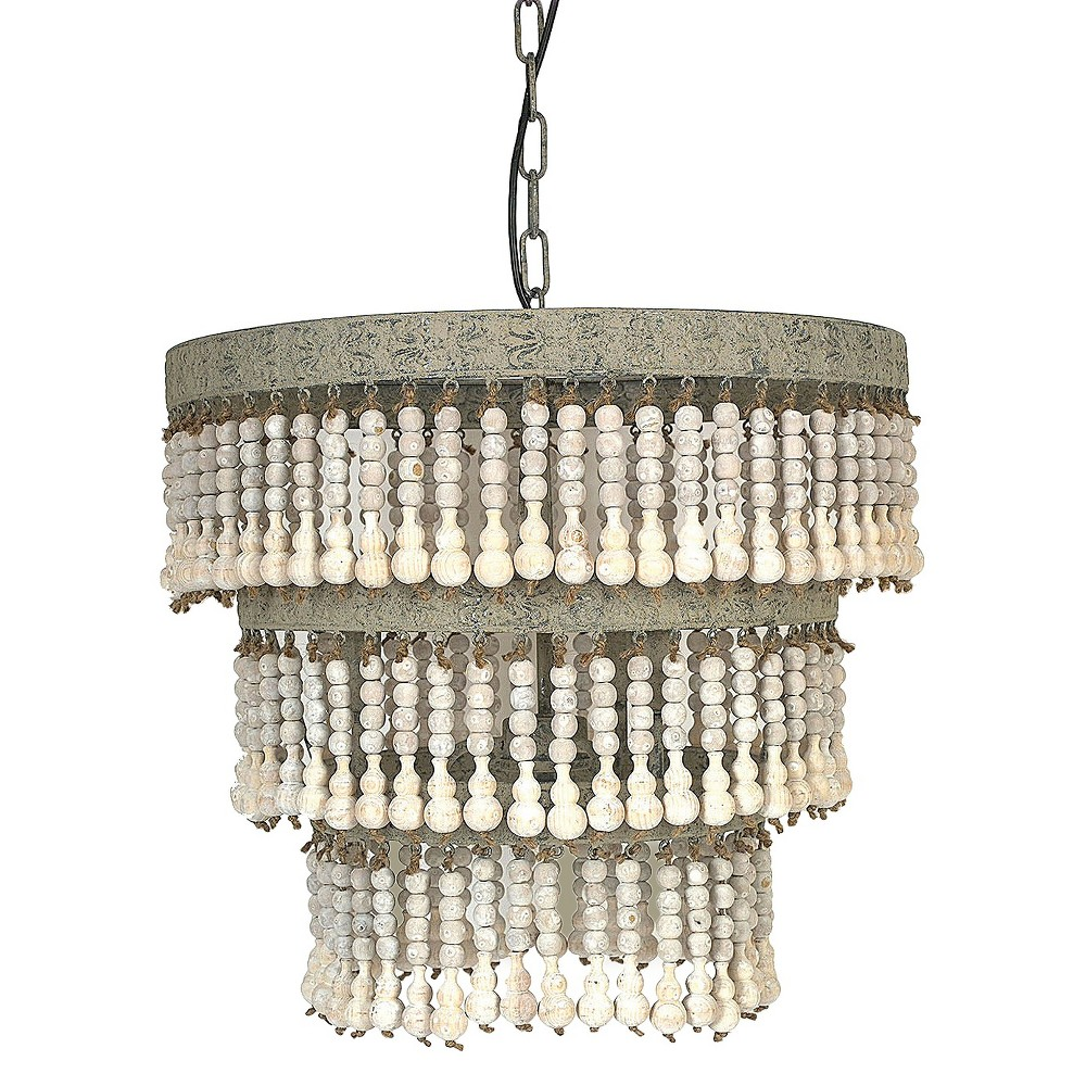 Metal Chandelier with Wooden Beads Gray 3R Studios